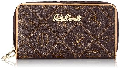 6037c3a6429f3 Lyonna - Geldbörse Damen LongFormat Portemonnaie mit zwei Reißverschlüssen  schwarz braun All-over Muster Print