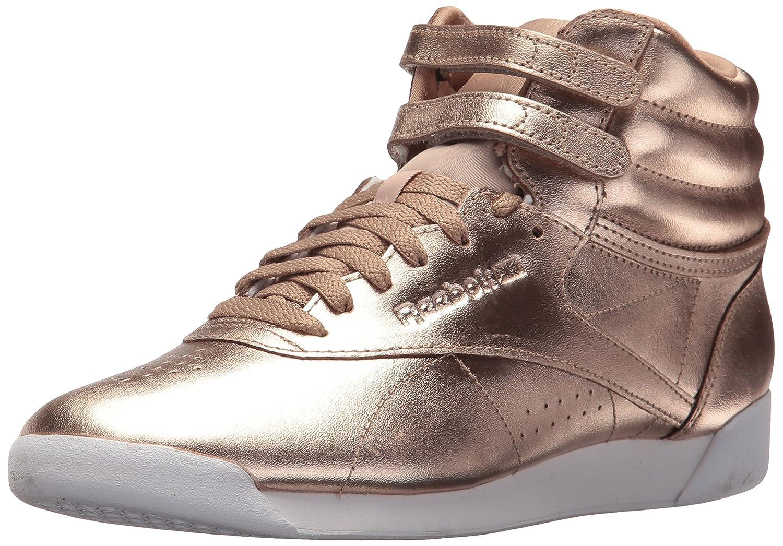 Reebok Women's F/S HI Metallic Sneaker B072JNNZ1K 6.5 B(M) US Rose Gold/White/Silver Peony