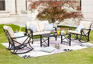 LOKATSE HOME 5Pcs Patio Furniture Conversation Bistro Sets Loveseat and 2 Coffee Table, Khaki