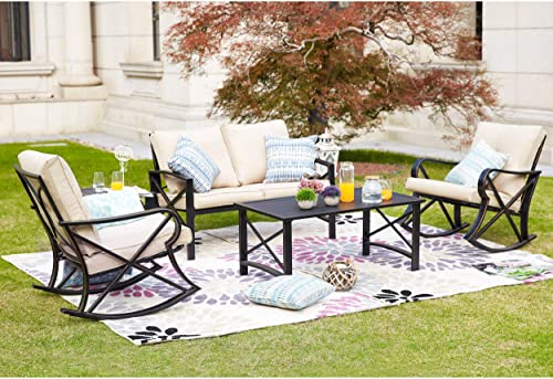 LOKATSE HOME 5Pcs Patio Furniture Conversation Bistro Sets Loveseat and 2 Coffee Table