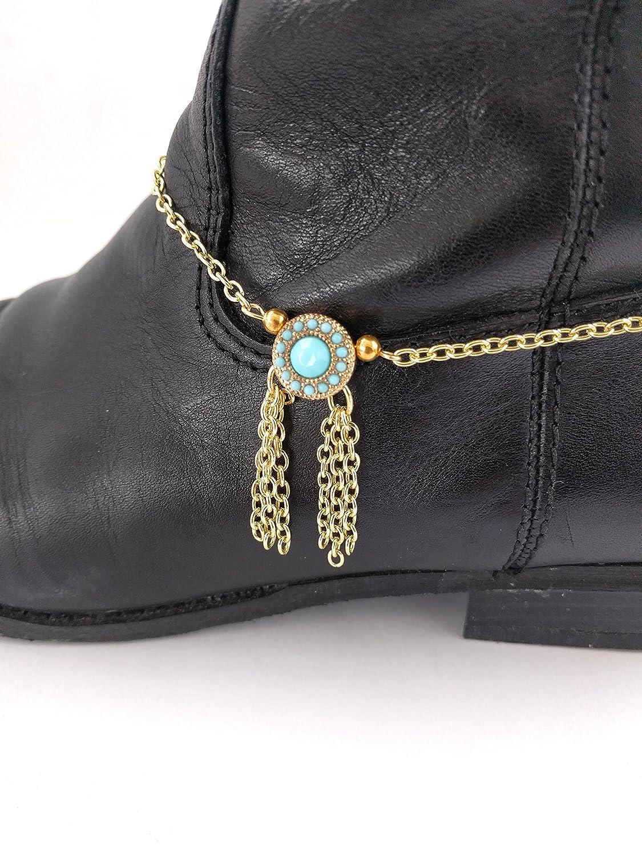 089179e7293 Amazon.com: Turquoise Concho Fringe Cowboy Boot Bracelet Chain 15 ...