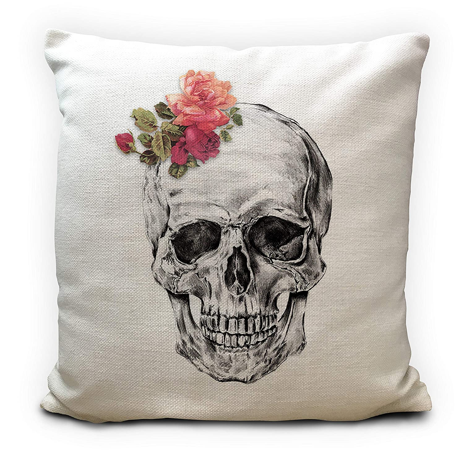 Skull Head Cushion Cover - Gothic Floral Flower Bouquet - Skeleton Pencil Sketch Illustration 16'