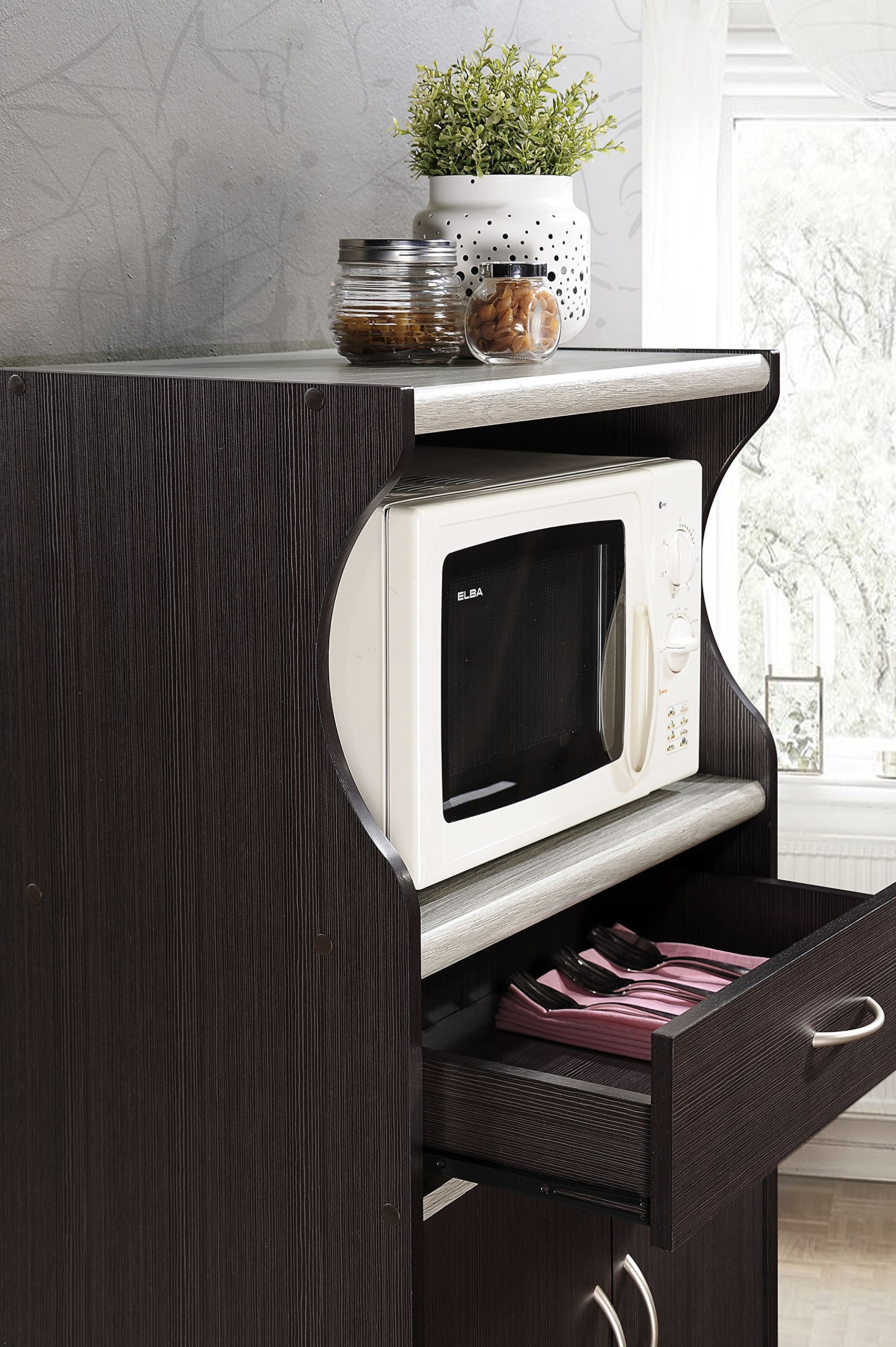 Hodedah Microwave Cart with One Drawer, Two Doors, and Shelf for Storage, Chocolate by HODEDAH IMPORT (Image #5)