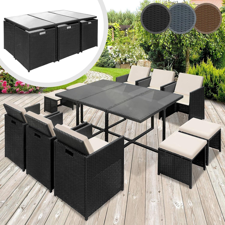 Miadomodo Polyrattan Lounge Gartenset Sofa Garnitur Polyrattan Gartenmöbel Sitzgruppe 11-teilig - Farbwahl (Schwarz)