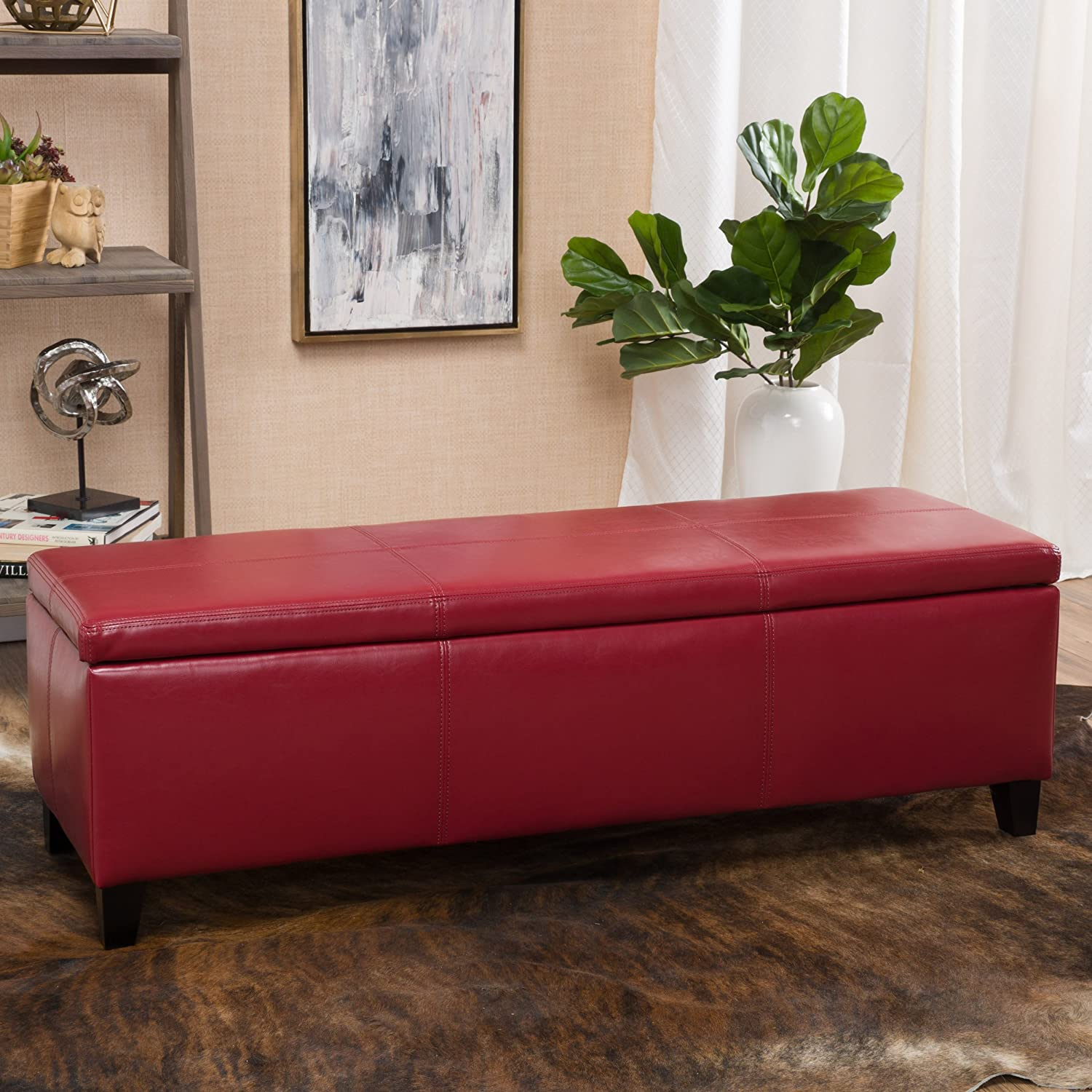Amazon.com: Christopher Knight Home 296847 Living Skyler Red Leather  Storage Ottoman Bench: Kitchen U0026 Dining