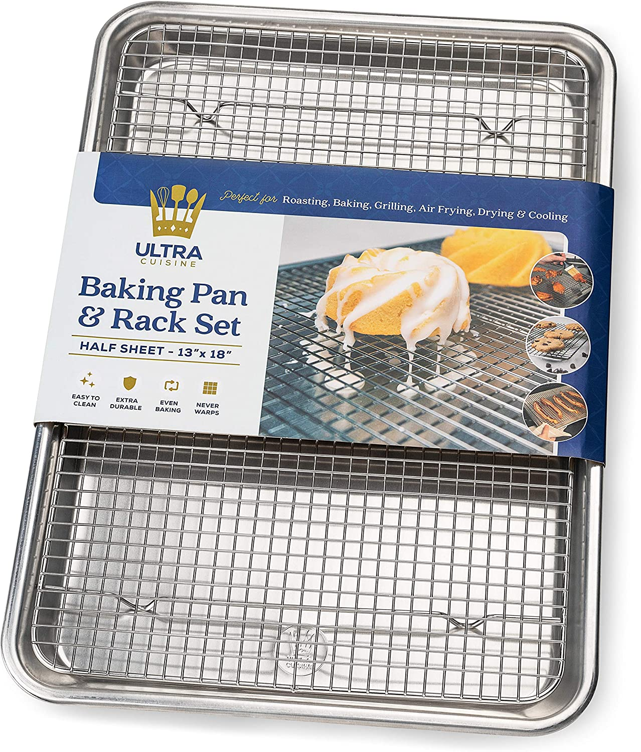 Baking Pan with Cooling Rack Set - Half Sheet Pan Size - Includes a Professional Aluminum Baking Sheet and a Stainless Steel Baking Rack for Oven - Durable, Easy to Clean, Commercial Quality
