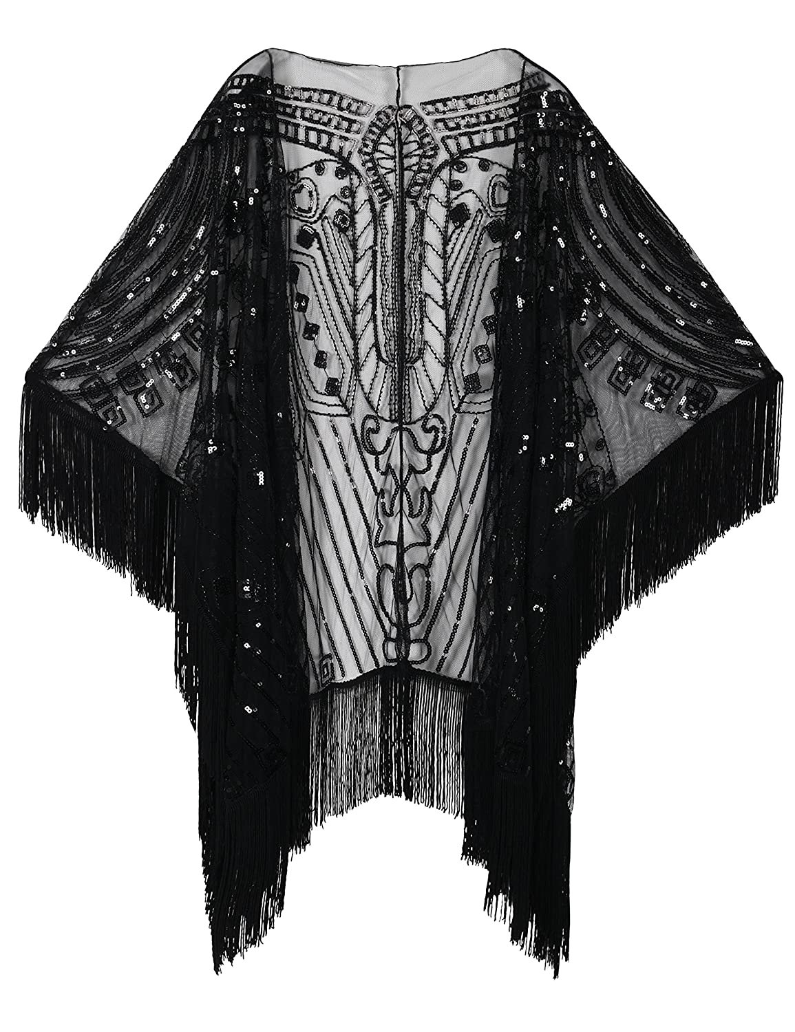 1920s Shawls, Scarves and Evening Jacket Tips PrettyGuide Womens Evening Wrap Beaded 1920s Shawl Fringed Oversized Cover up $35.99 AT vintagedancer.com