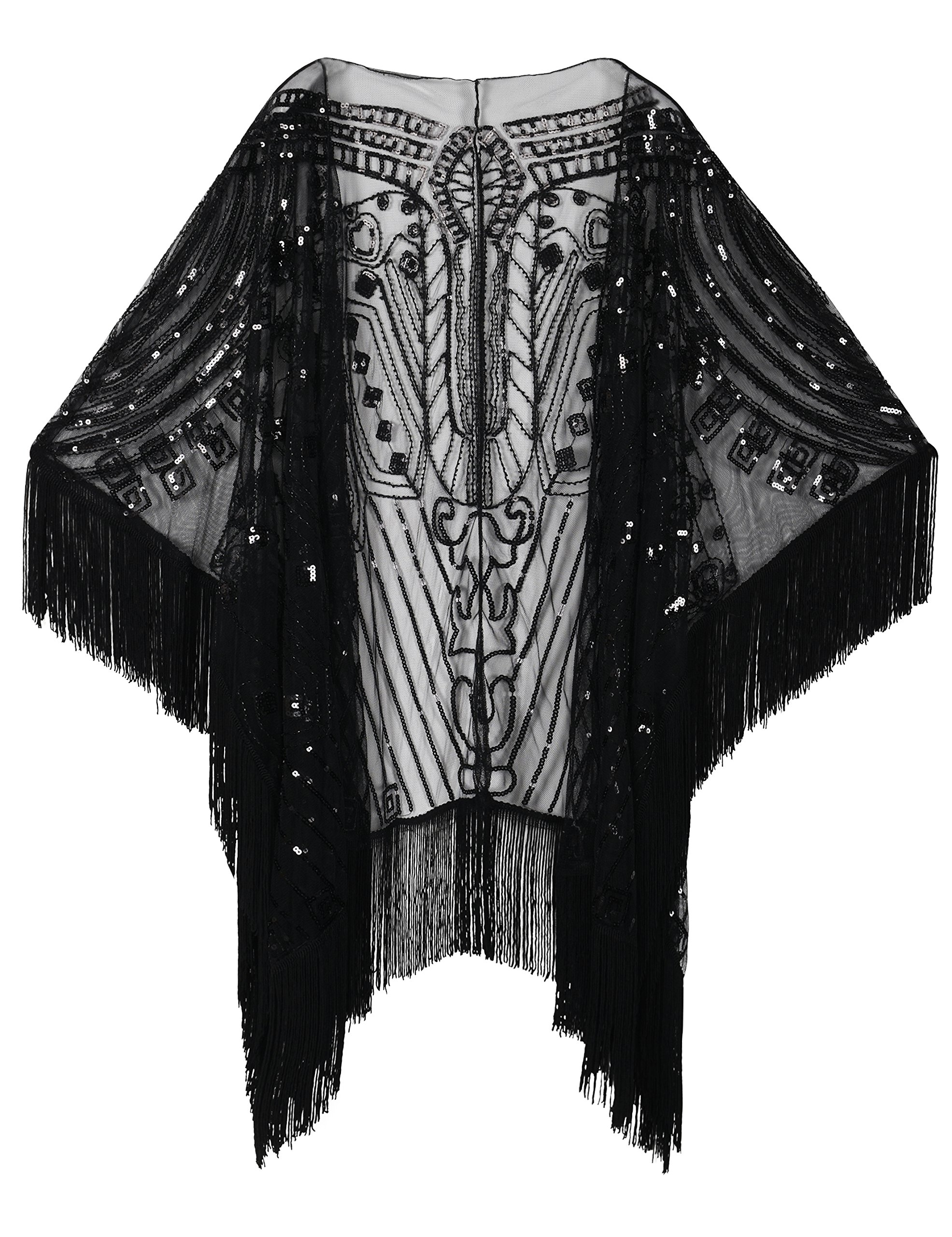 PrettyGuide Women's 1920s Shawl Beaded Evening Wrap Open Front Fringed Cape Black by PrettyGuide