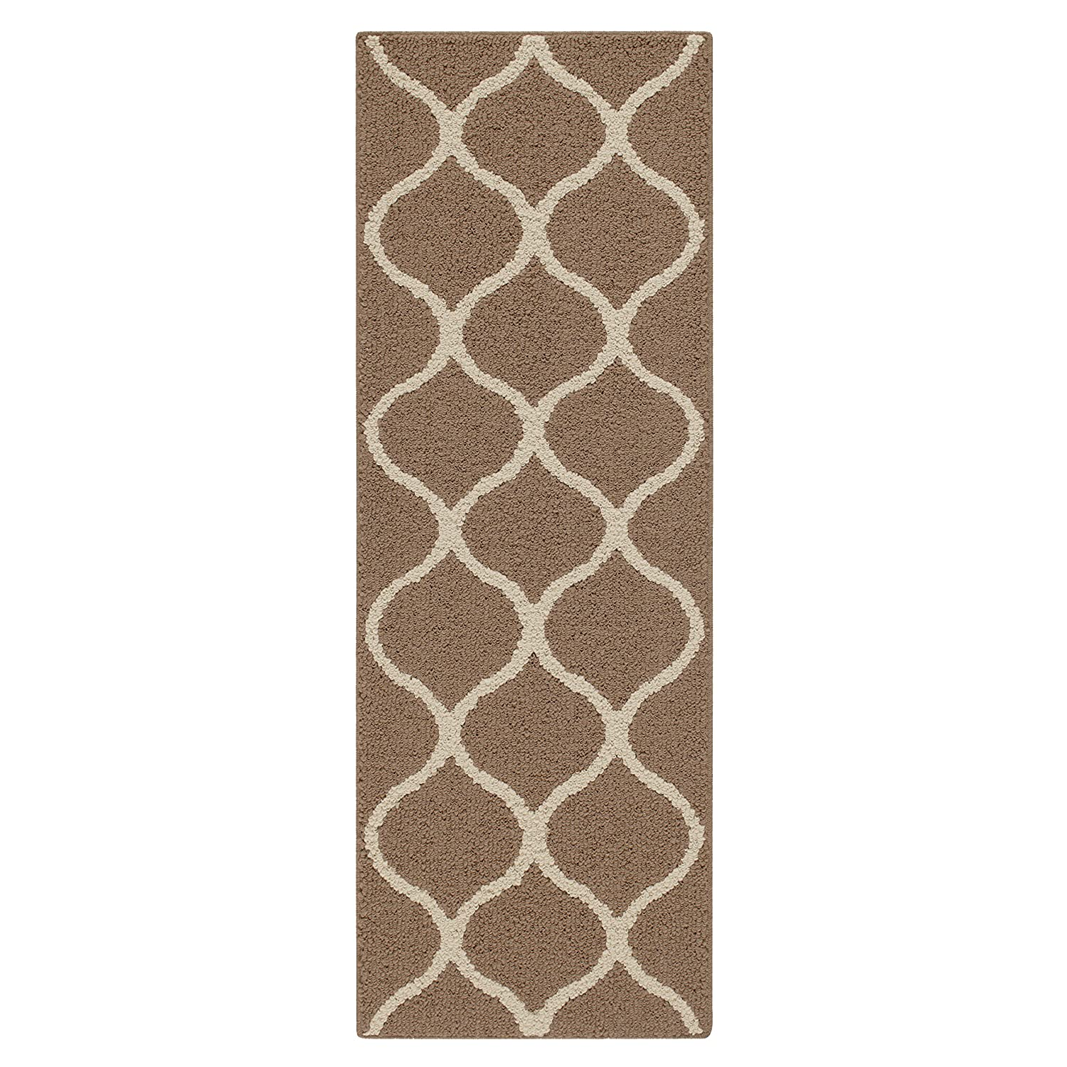 Maples Rugs Runner Rug - Rebecca 1'9 x 5' Non Skid Hallway Carpet Entry Rugs Runners [Made in USA] for Kitchen and Entryway, Café Brown/White