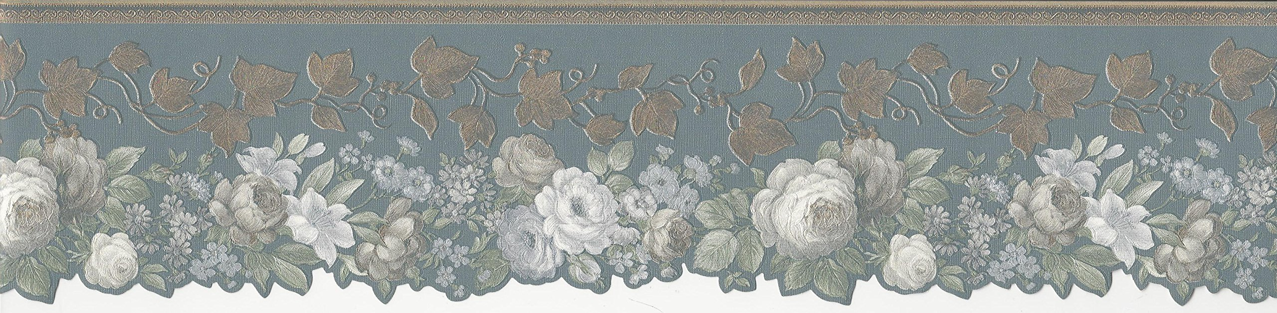 Wallpaper Border Gray White Blue Floral with Bronze Ivy on Gray Blue Die Cut