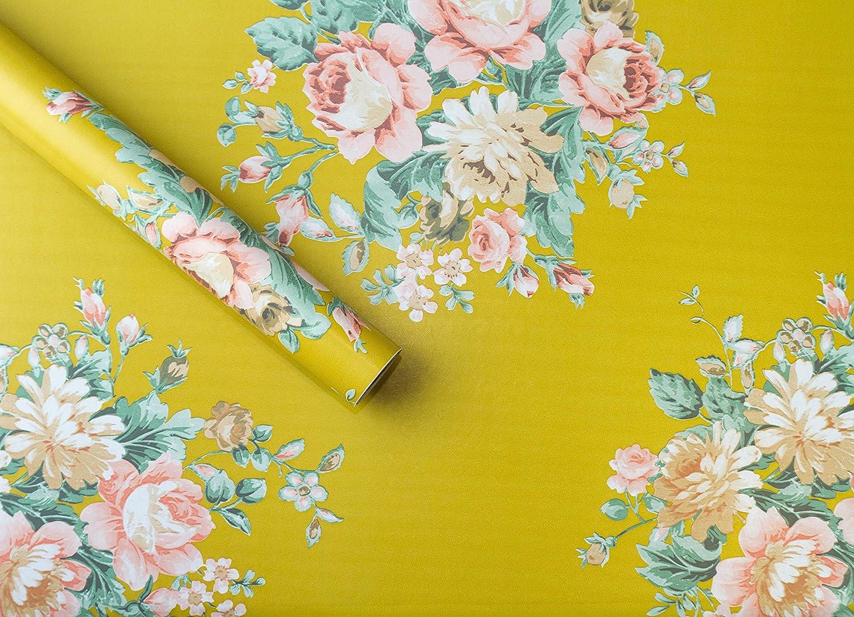 Vintage Floral Peel Stick Wallpaper Border Sticky Back Self Adhesive Gold Swirl