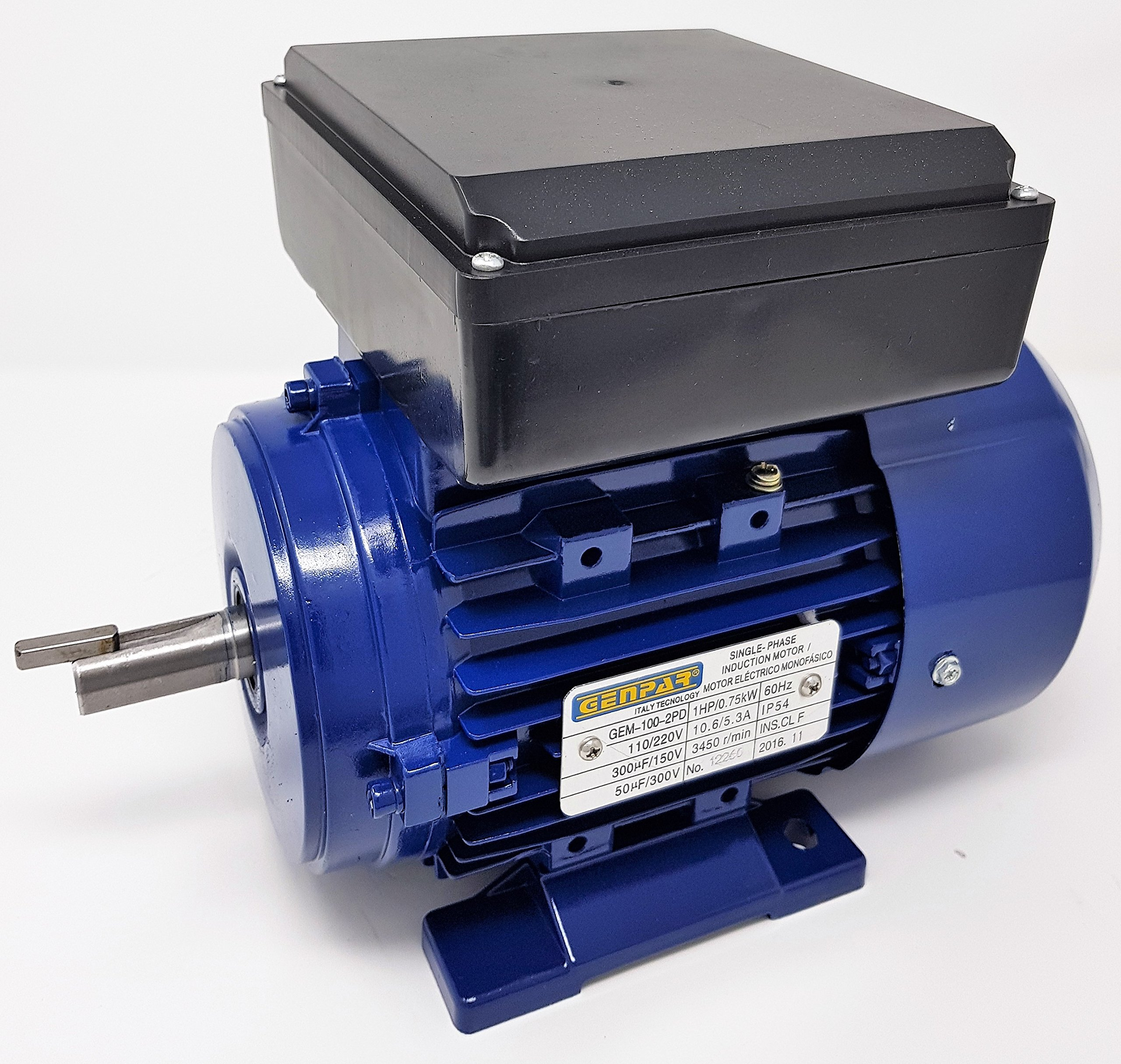 1HP 1750RPM GENPAR Electric Motor 1 Single Phase Type Industrial for HEAVY DUTY Applications BALL BEARING 4 Poles Dual Voltage 110/220V Universal Fan Compressor Pump Machines 1 HP GENERAL PURPOSE USE
