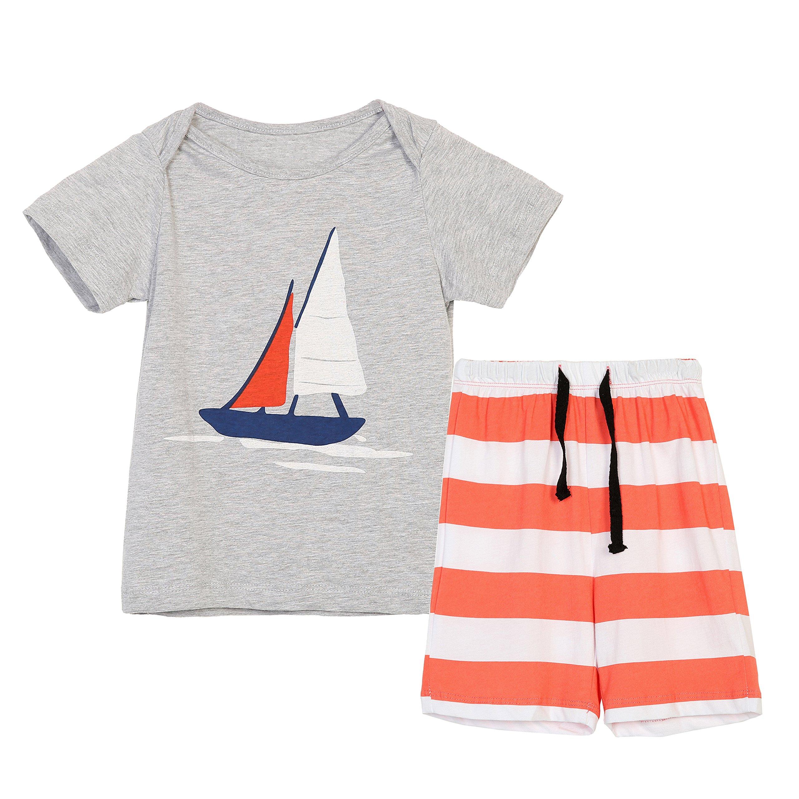 Boys Summer Cotton Short Sets Short Sleeve Graphic Print T-Shirts + Striped Shorts Gray 4T