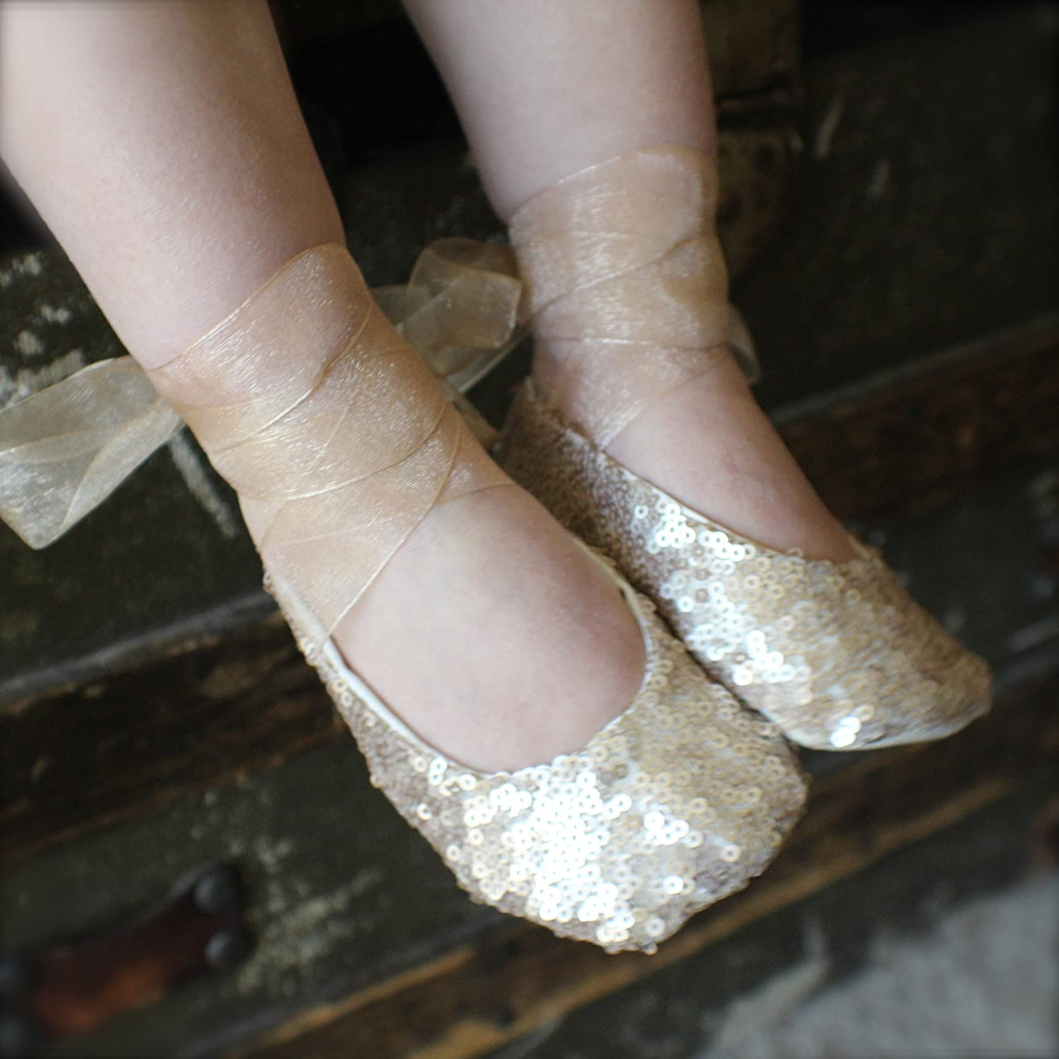 Gold Pink Or White Sequin Ballet Slippers Flower Girl Shoes