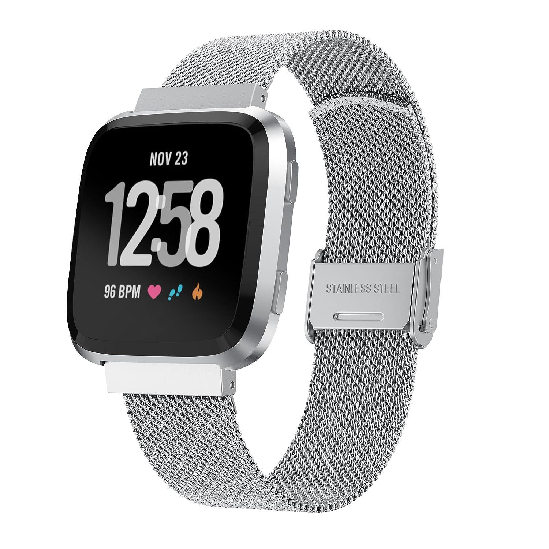yaspark Fitbit Versa Watch Bands、通気性Milanese Loopメタルメッシュステンレススチールアクセサリーバンド特別な開閉クラスプ付き交換ストラップリストバンドfor Fitbit Versa Smartwatch シルバー シルバー B07BM7H2RX