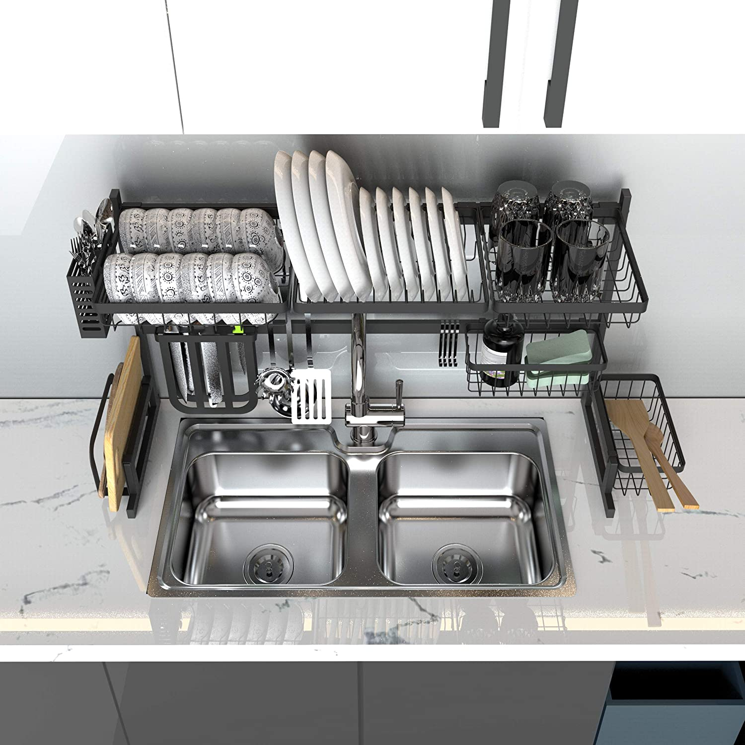 Stainless Steel Paint Kitchen Drain Dish Racks Sink Size/≤32.5in Dish Rack Drainer Over The Sink with 10 Utility Hooks IGOKOTI Over Sink Dish Rack 2 Square Baskets for Kitchen Sink