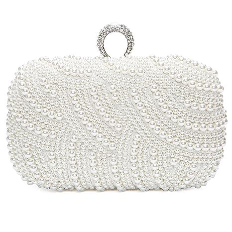Bolsa de Embrague para Fiesta Boda Novia Bolso de Mano Nupcial Diseño con Perlas Wedding Bag