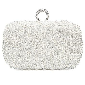 Bolsa de Embrague para Fiesta Boda Novia Bolso de Mano Nupcial Diseño con Perlas Wedding Bag Cartera billetera de Mujer,Blanco: Amazon.es: Equipaje