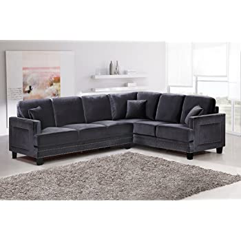 Meridian Furniture 655GRY Sectional Ferrara Velvet Upholstered 2 Piece Sectional  Sofa Square Arms, Silver