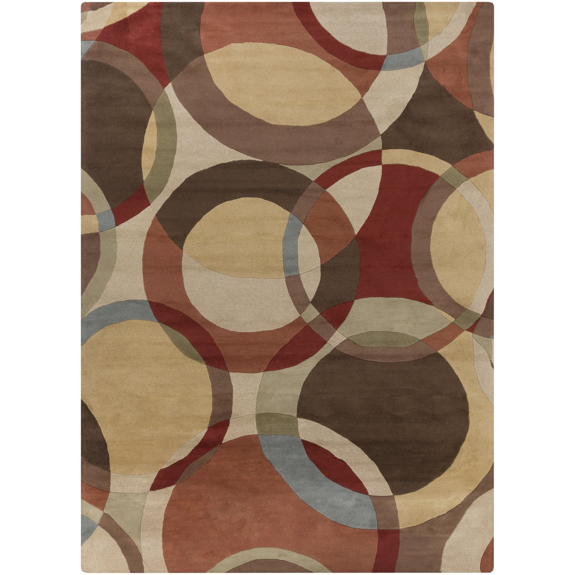 Surya Forum FM-7108 Contemporary Hand Tufted 100% Wool Dark Khaki 2'6'' x 8' Geometric Runner
