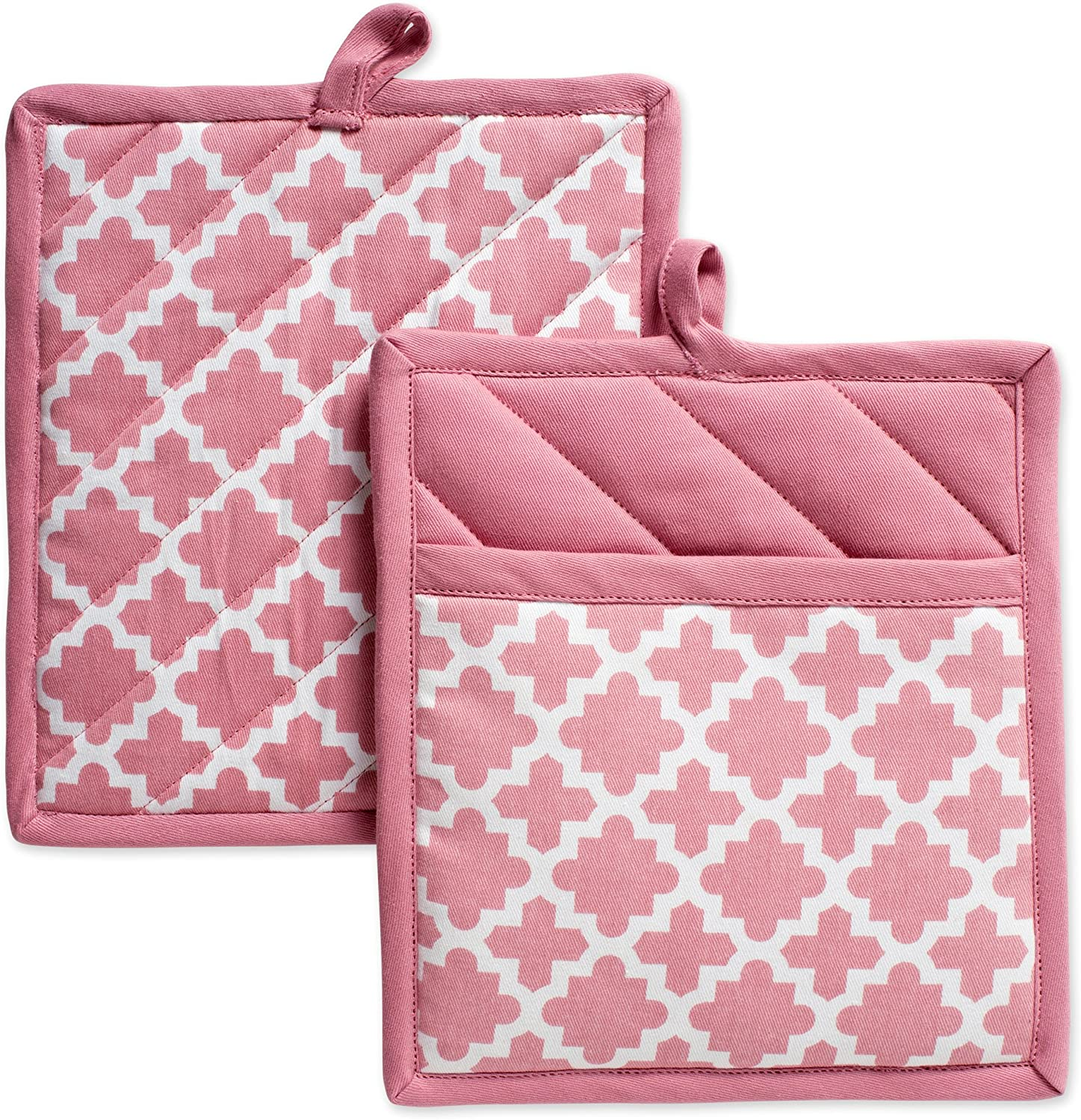"DII Cotton Lattice Pot Holders, 9 x 8"" Set of 2, Machine Washable and Heat Resistant Hot Pad for Everyday Kitchen Cooking & Baking-Rose Pink"