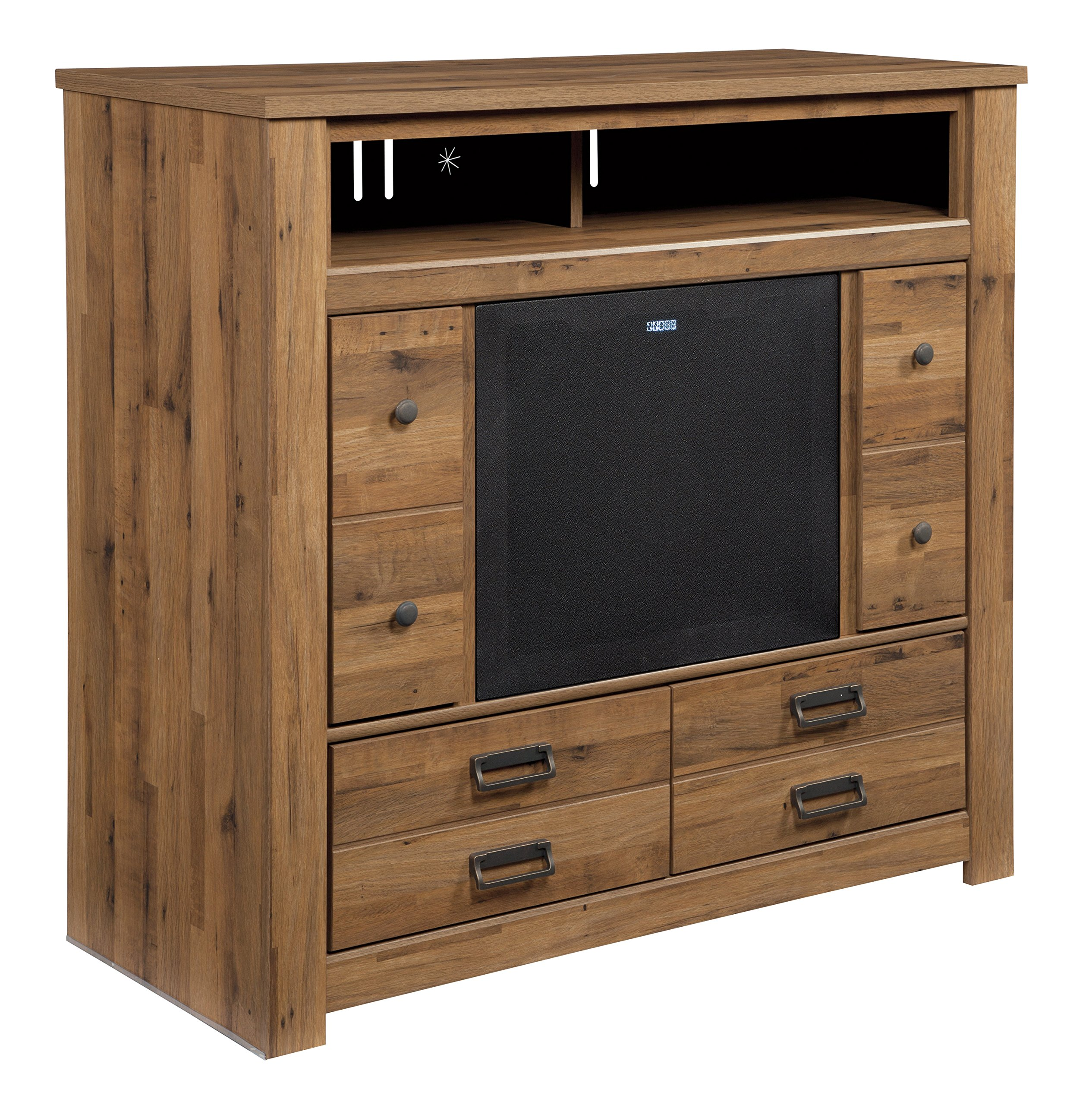 Ashley Furniture Signature Design - Cinrey Media TV Stand with Large Integrated Audio Unit Included - Medium Brown by