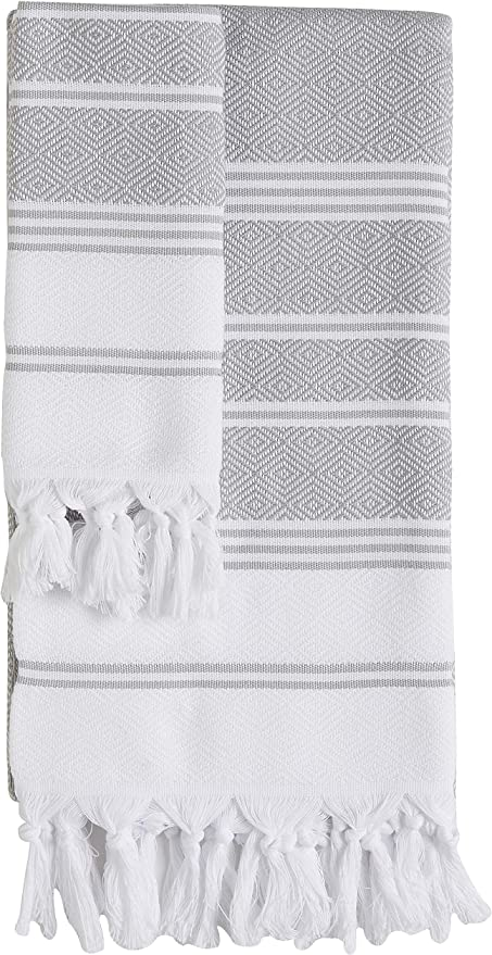 DEMMEX Set of 2 CopperBull 2018 Turkish Cotton Bath Beach /& Hand Face Towel Set Black