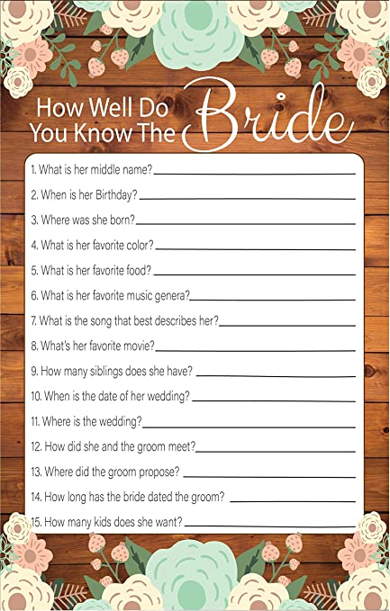 1f2ed2d011b0 Amazon.com  How Well Do You Know The Bride Rustic Bridal Shower ...