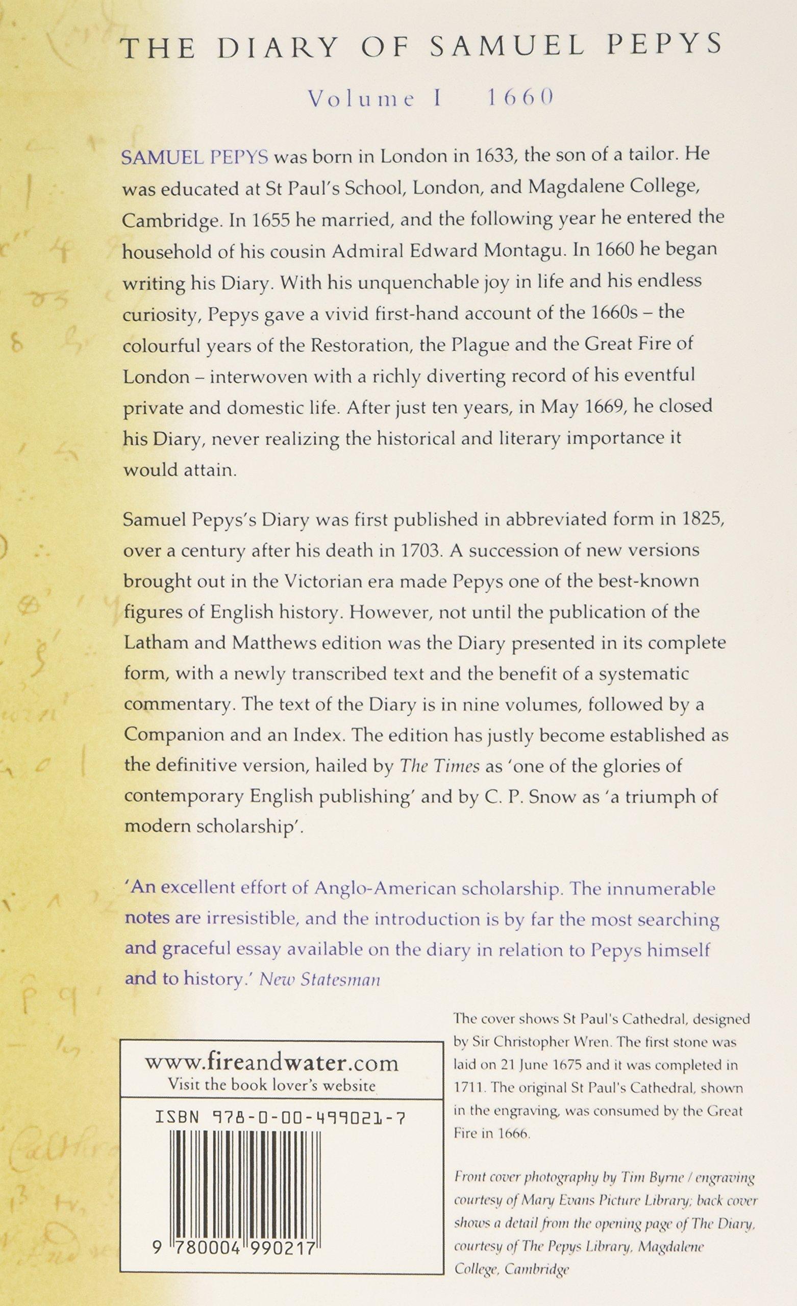 the diary of samuel pepys volume i v amazon co the diary of samuel pepys volume i 1660 1660 v 1 amazon co uk samuel pepys 9780004990217 books