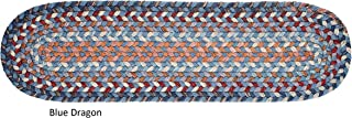 """product image for Rhody Rug Augusta Wool Reversible Stair Treads - 8"""" x 28"""" Oval Blue"""