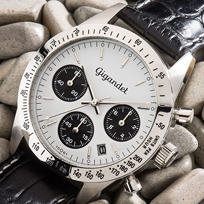 Gigandet Armbanduhr Leder Herren Chronograph King Quarz Schwarz Race eH9IDYWE2
