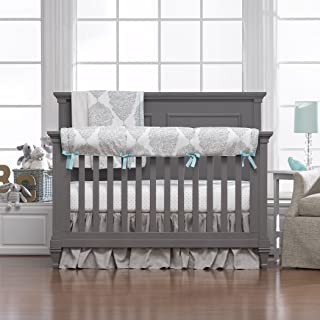 product image for Liz and Roo Harper Bumperless Gathered Skirt Crib Bedding 3-Piece Set, Taupe/Aqua (23858BBR3)