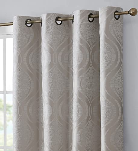 HLC.ME Montero Damask 100 Complete Blackout Thermal Insulated Energy Savings Heat/Cold Blocking Floor Length Grommet Curtain Drapery Panels