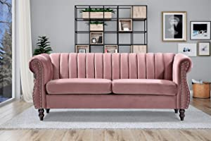 "Container Furniture Direct Quinones Modern Chesterfield Channel Tufted Sofa with Nailhead Accents, 76.4"", Rose"