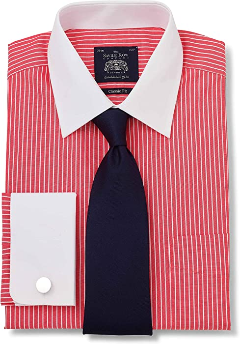 "d8880a6bce Savile Row Company Men's Red White Poplin Stripe Classic Fit Shirt 15""  ..."