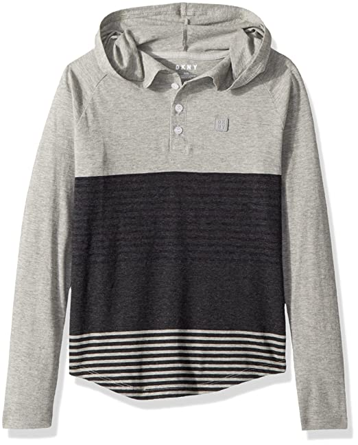 7550d832 DKNY Boys' Toddler Long Sleeve Color Block and Stripe Hooded Henley Shirt,  Heather Light