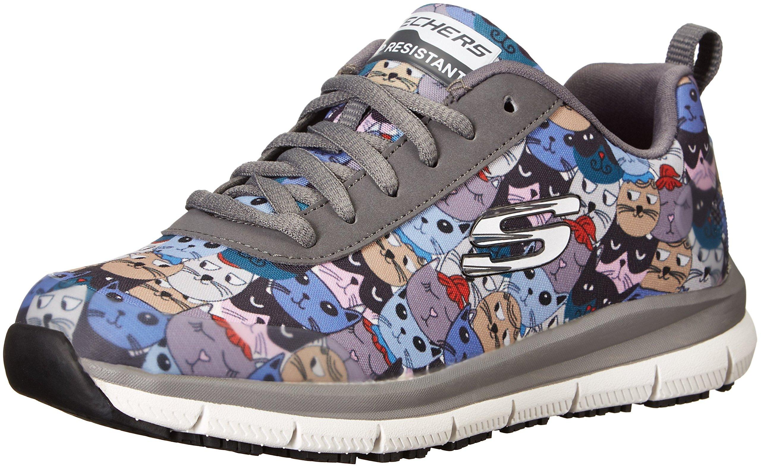 Skechers Women's Comfort Flex Sr Hc Pro Health Care Professional Shoe,Charcoal/Multi,9.5 Medium US