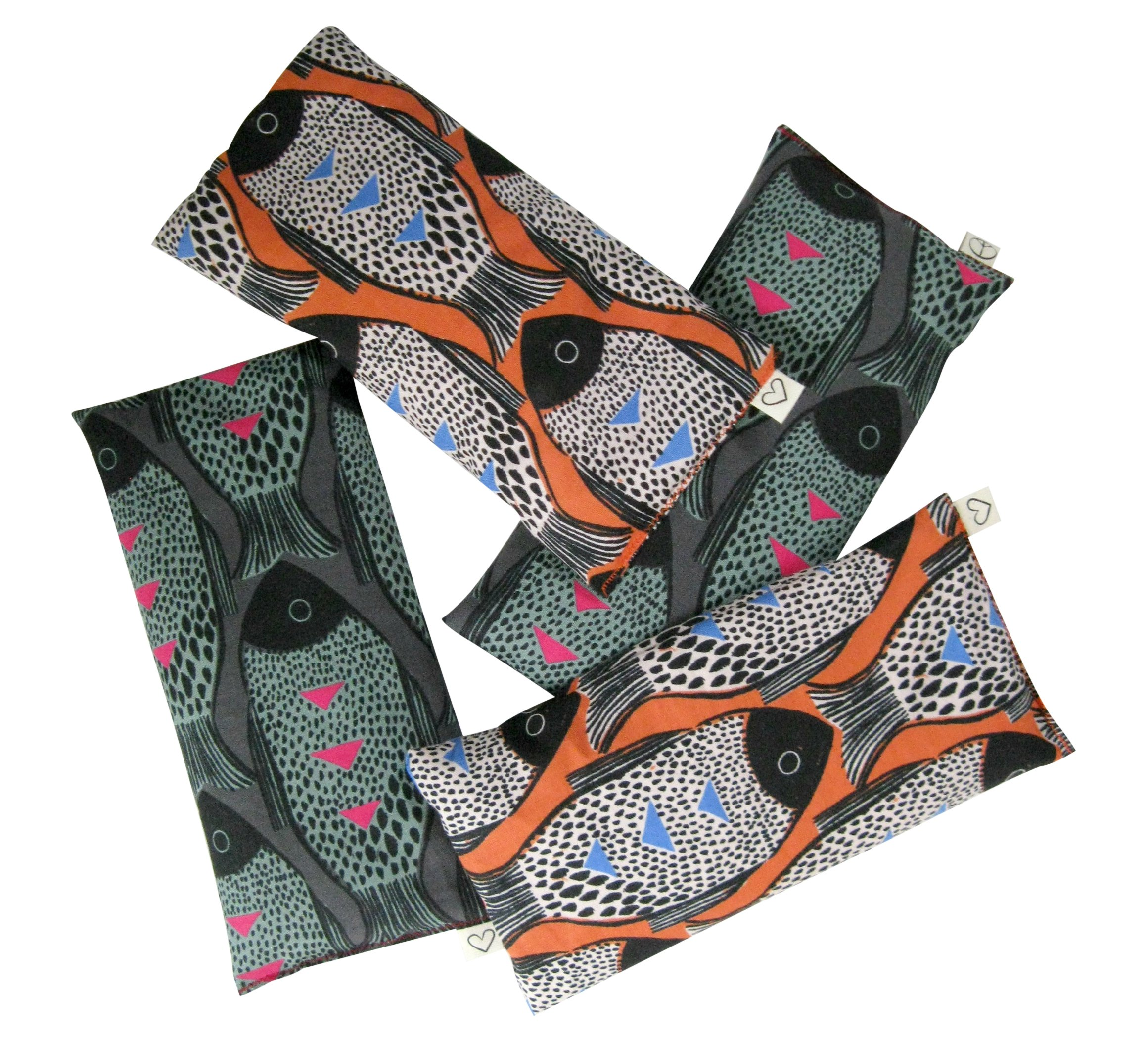 Peacegoods Lavender Eye Pillow Pack of (4) - Soft Cotton 4 x 8.5 - Naturally Soothing - Black Teal Orange Modern Fish