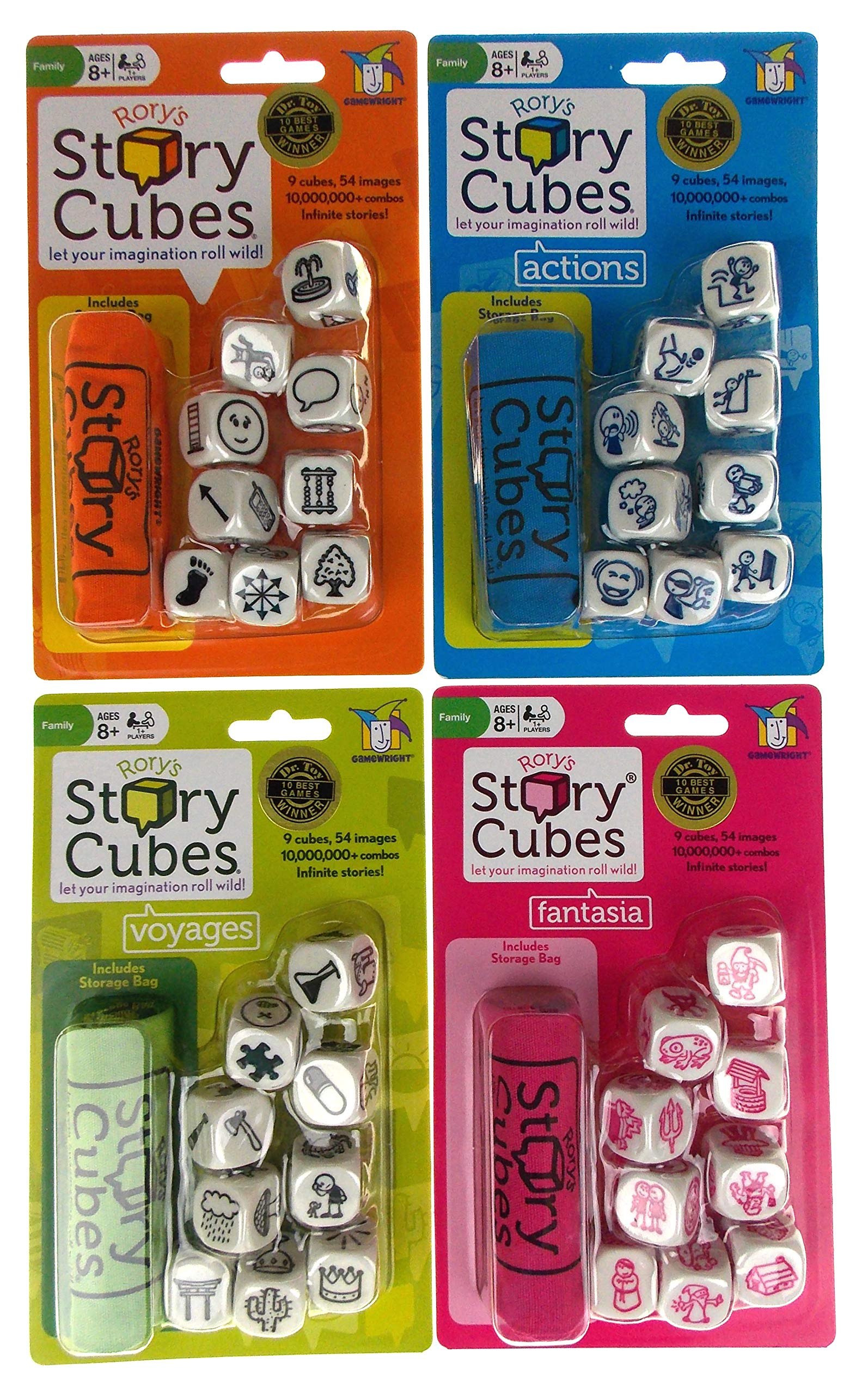 Rory's Story Cubes Bundle - Includes Rory's Story Cubes Original, Actions, Voyages & Fantasia Gamewright by Hickoryville