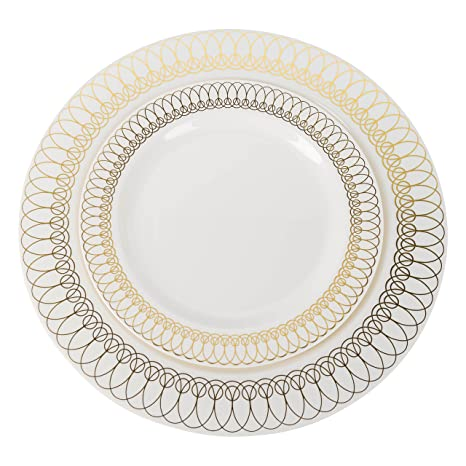 Plastic Wedding Plates.10 25in Gold Ovals Design Premium Plastic Wedding Plates 40 Pack China Like