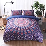 Meeting Story Mandala Bohemian Design 3Pcs Duvet Cover Set (Queen, Floral Purple)