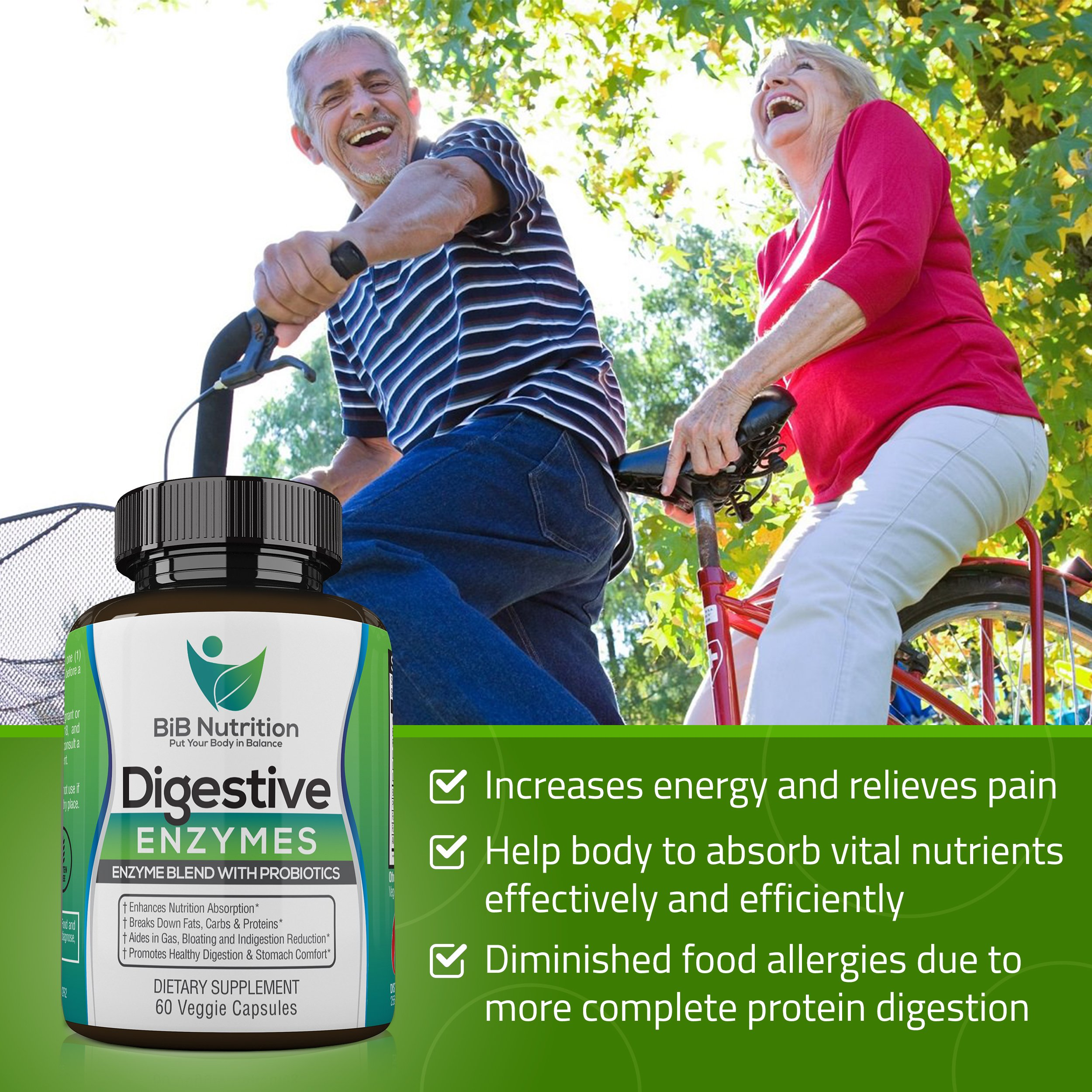 Digestive Enzyme Supplements for Women and Men by BiB Nutrition
