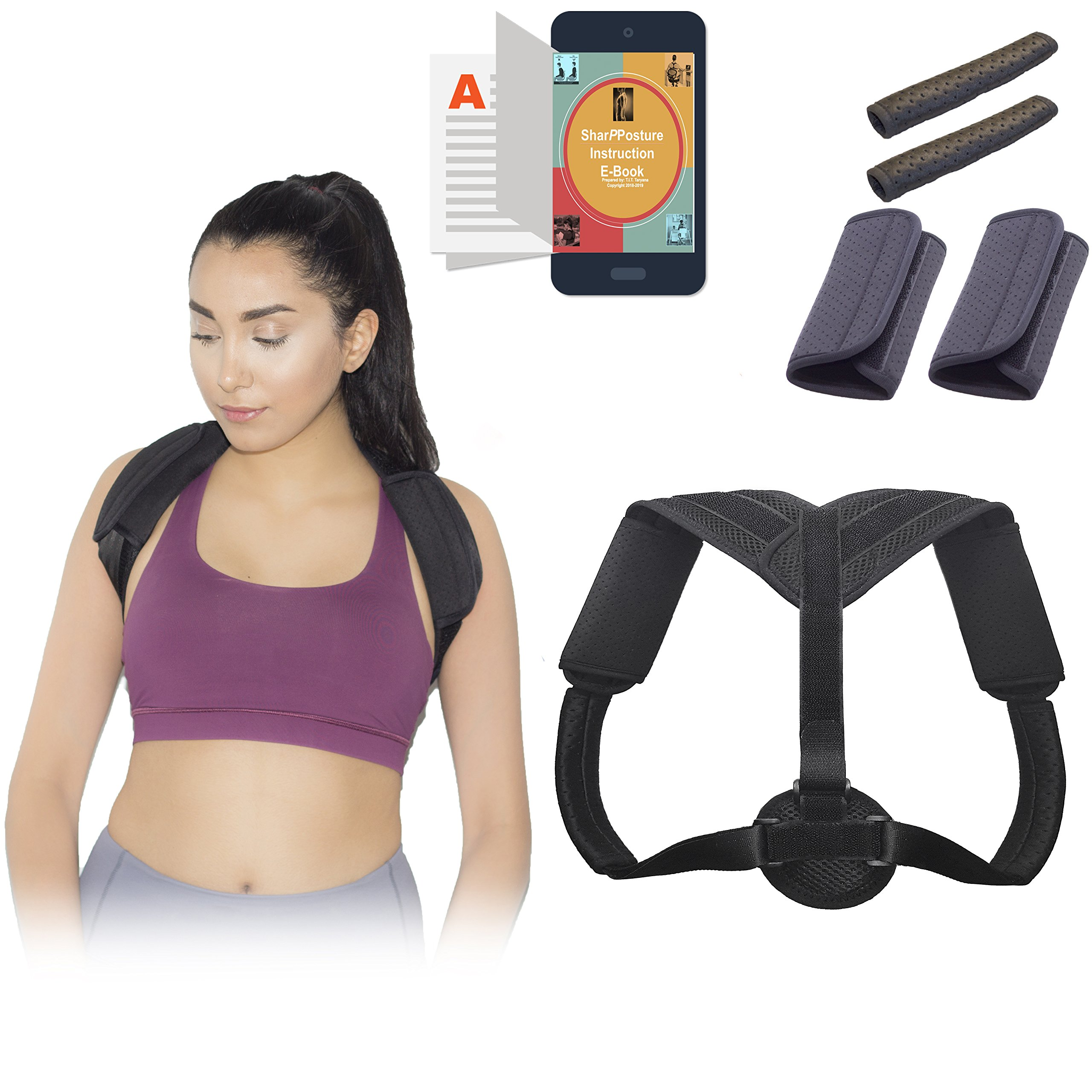 SharpPosture Adjustable Posture Corrector for Women and Men, Upper Back and Shoulder Brace for Clavicle Support, Slouching, and Hunching, Comes with 4 Extra Pads and E-Book, Comfortable and Breathable by SharpPosture