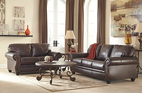Ashley Bristan Collection 8220239 Queen Sofa Sleeper With Leather  Upholstery Stitched Detailing Nail Head Accents Rolled
