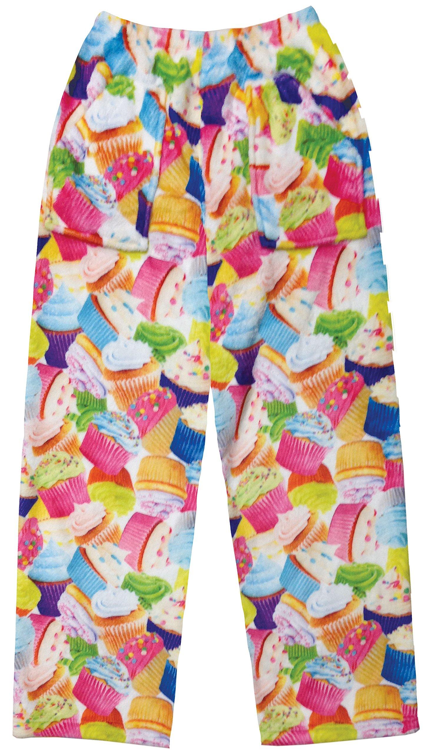 iscream Big Girls Fun Print Plush Pants - Colorful Cupcakes, X-Large