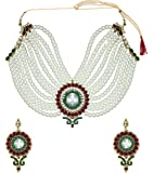 Zaveri Pearls Off-White Non-Precious Metal Choker Necklace Set For Women