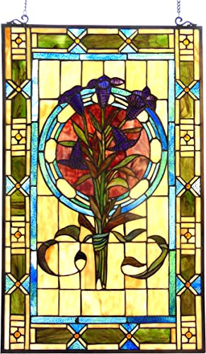 Chloe Lighting 20×32 Tiffany-Glass Tulips Design Window Panel
