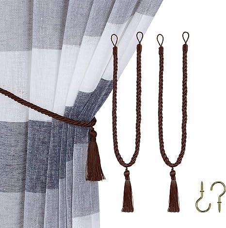 Curtain Tie Backs Holdback Tassel Rope Window Drapery Tieback Home Room Decor