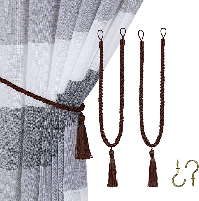 Home Queen Decorative Tassel Rope Tie Backs For Window Curtain Hand Knitting Buckle Cord Drapery Holdbacks Set Of 2 Brown Home Kitchen