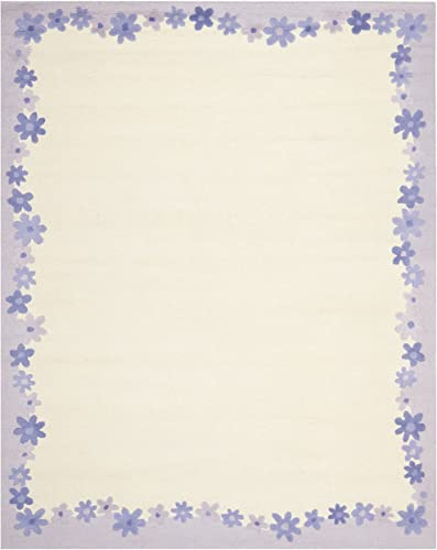 Safavieh Safavieh Kids Collection SFK357A Handmade Ivory and Lavender Cotton Area Rug 8 x 10